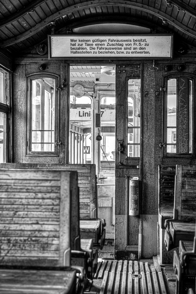 Inside the historic tram